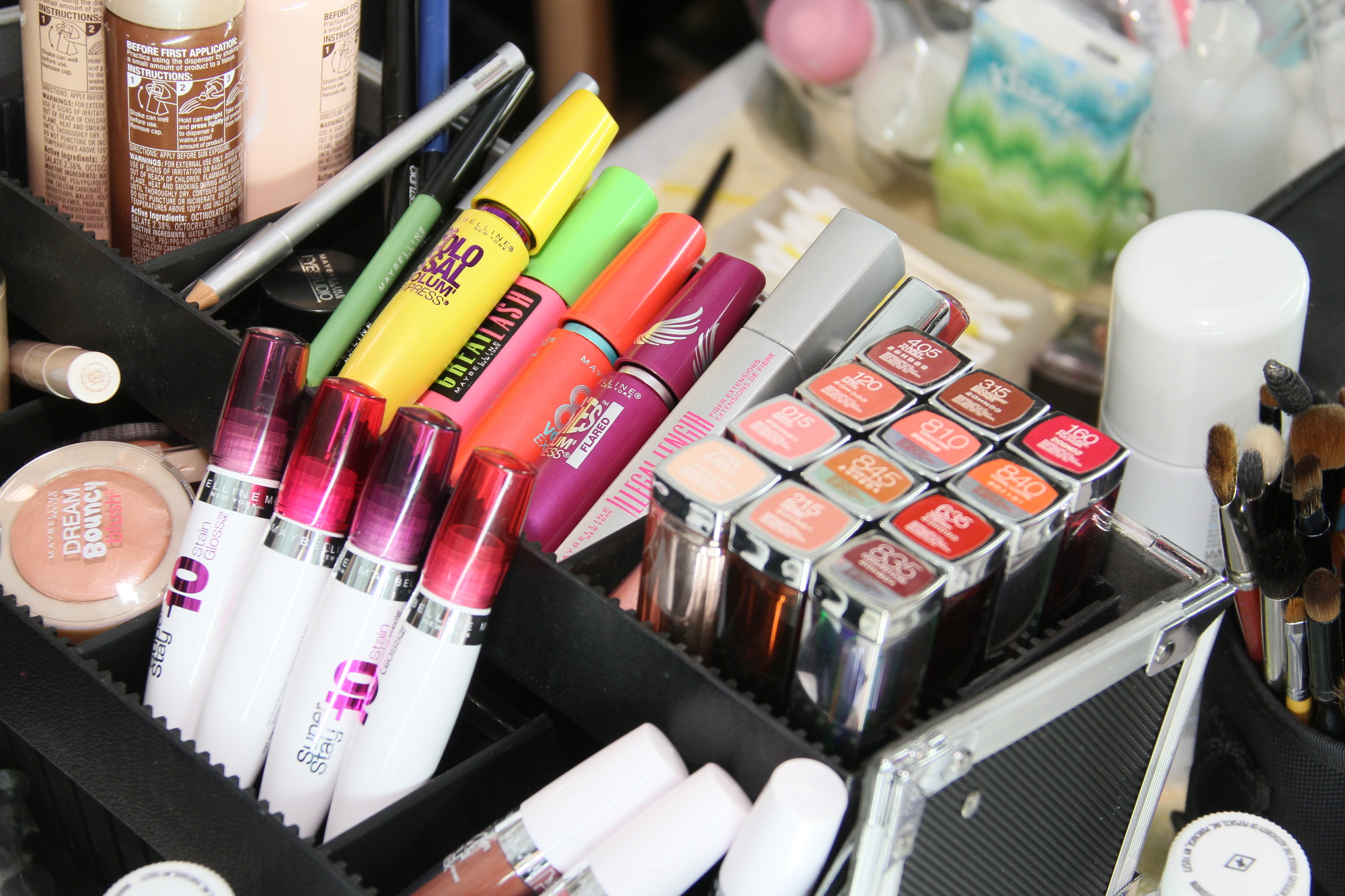NEW YORK, NY - FEBRUARY 15: Maybellyne cosmetic products backstage at the J. Mendel Fall 2012 fashion show during Mercedes-Benz Fashion Week at The Theatre at Lincoln Center on February 15, 2012 in NYC.